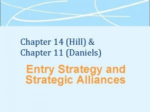 Chapter 14 Hill Chapter 11 Daniels Entry Strategy