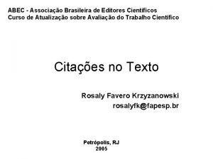 ABEC Associao Brasileira de Editores Cientficos Curso de