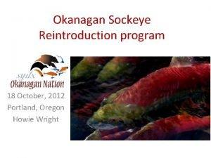 Okanagan Sockeye Reintroduction program 18 October 2012 Portland