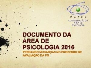 COORDENAO DA REA DE PSICOLOGIA DOCUMENTO DA REA
