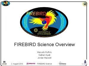FIREBIRD Science Overview Marcello Ruffolo Nathan Hyatt Jordan