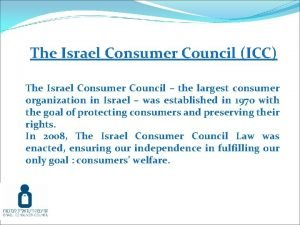 The Israel Consumer Council ICC The Israel Consumer