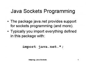 Java Sockets Programming The package java net provides