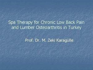 Spa Therapy for Chronic Low Back Pain and