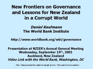 New Frontiers on Governance and Lessons for New