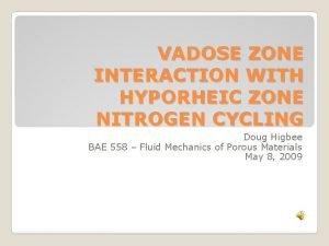VADOSE ZONE INTERACTION WITH HYPORHEIC ZONE NITROGEN CYCLING