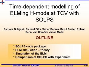 Timedependent modelling of ELMing Hmode at TCV with