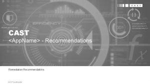 CAST App Name Recommendations Remediation Recommendations CAST Confidential