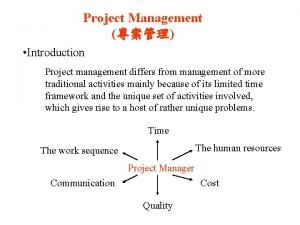 Project Management Introduction Project management differs from management