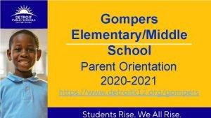 Gompers ElementaryMiddle School Parent Orientation 2020 2021 https