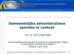 Tom Vander Beken Gemeentelijke administratieve sancties Brussel 2