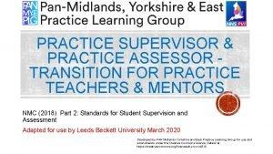 PRACTICE SUPERVISOR PRACTICE ASSESSOR TRANSITION FOR PRACTICE TEACHERS