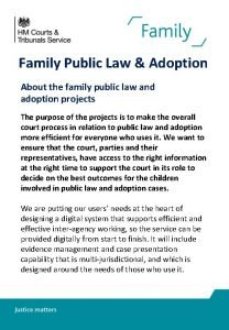 Family Public Law Adoption About the family public