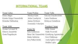 INTERNATIONAL TEAMS Team Valio Team Praau Team Labas