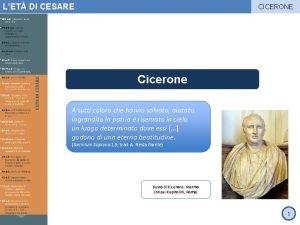 LET DI CESARE CICERONE Cicerone A tutti coloro