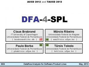 AOSD 2012 and TAOSD 2013 DFA4 SPL Dataflow