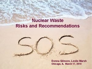 Nuclear Waste Risks and Recommendations Donna Gilmore Leslie