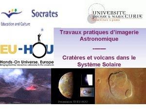 Travaux pratiques dimagerie Astronomique Cratres et volcans dans