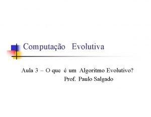 Computao Evolutiva Aula 3 O que um Algoritmo