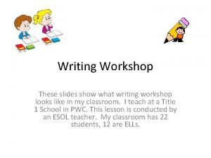 Writing Workshop These slides show what writing workshop