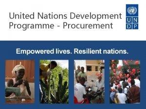 United Nations Development Programme Procurement Scope of Presentation
