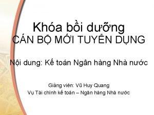 Kha bi dng CN B MI TUYN DNG
