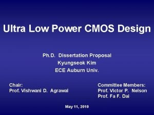 Ultra Low Power CMOS Design Ph D Dissertation