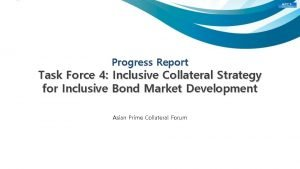 Progress Report Task Force 4 Inclusive Collateral Strategy