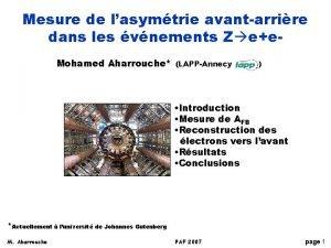 Mesure de lasymtrie avantarrire dans les vnements Z