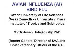 AVIAN INFLUENZA AI BIRD FLU Czech University of