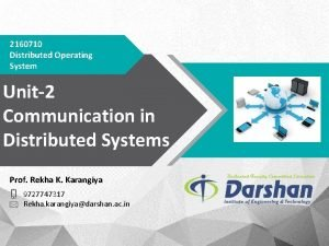 2160710 Distributed Operating System Unit2 Communication in Distributed