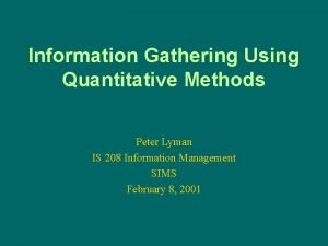 Information Gathering Using Quantitative Methods Peter Lyman IS
