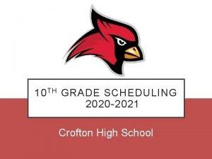 10 TH GRADE SCHEDULING 2020 2021 Crofton High