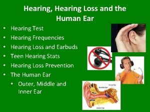 Hearing Hearing Loss and the Human Ear Hearing