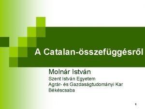A Catalansszefggsrl Molnr Istvn Szent Istvn Egyetem Agrr