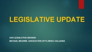 LEGISLATIVE UPDATE 2020 LEGISLATIVE SESSION MICHAEL BRAWER ASSOCIATION