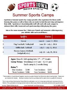 Summer Sports Camps Sports Iowa Summer Sports Day