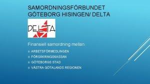 SAMORDNINGSFRBUNDET GTEBORG HISINGEN DELTA Finansiell samordning mellan ARBETSFRMEDLINGEN