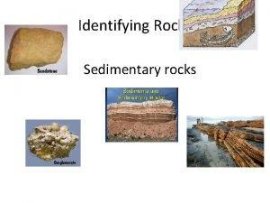 Identifying Rocks Sedimentary rocks Rocks are partly identified