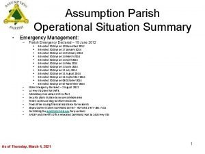 Assumption Parish Operational Situation Summary Emergency Management Parish