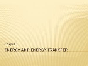 Chapter 6 ENERGY AND ENERGY TRANSFER ENERGY IS