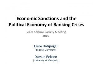 Economic Sanctions and the Political Economy of Banking