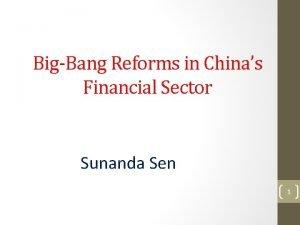 BigBang Reforms in Chinas Financial Sector Sunanda Sen