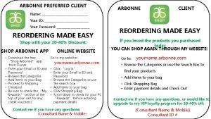 ARBONNE PREFERRED CLIENT ARBONNE CLIENT Name Your ID