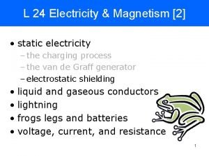 L 24 Electricity Magnetism 2 static electricity the