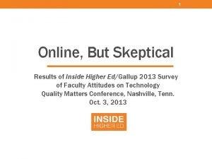 1 Online But Skeptical Results of Inside Higher