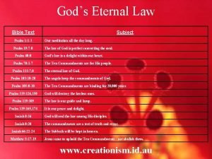 Gods Eternal Law Bible Text Subject Psalm 1