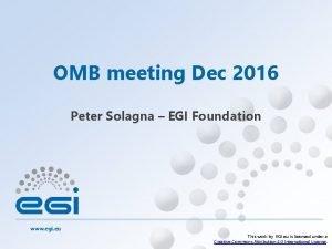OMB meeting Dec 2016 Peter Solagna EGI Foundation