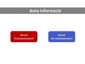 Auto informaci Servei dassessorament Servei de reconeixement Servei