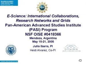 EScience International Collaborations Research Networks and Grids PanAmerican